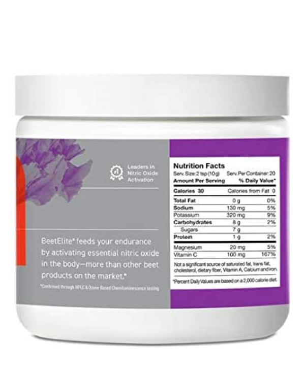 Superfood Beet Crystals BeetElite Nitric Oxide Activator - Nutritional Facts